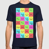Smiley Chess Board Mens Fitted Tee Navy SMALL
