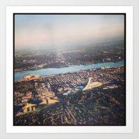 Flying over Montreal' stade Art Print