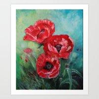 The Fairies Poppies Art Print