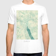 Zurich Map Blue Vintage SMALL White Mens Fitted Tee