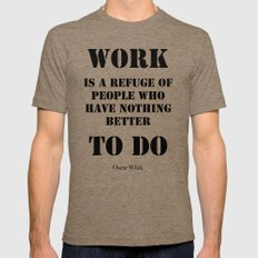 Work by Oscar Wilde (on white) Mens Fitted Tee Tri-Coffee SMALL