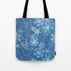 icy snowflakes on blue Tote Bag