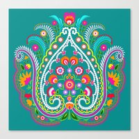 Folk Turquoise Damask Canvas Print