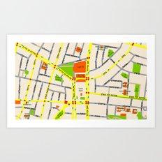 Tel Aviv map design - written in Hebrew Art Print