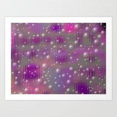 Disco made of purple bubbles Art Print