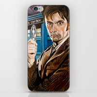 The Tenth Doctor and His TARDIS iPhone & iPod Skin