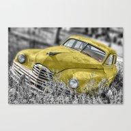 Vintage Yellow Rusty Car Canvas Print