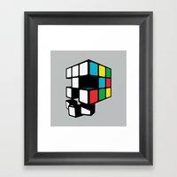Rubix Skull Framed Art Print