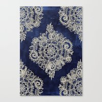 Canvas Print featuring Cream Floral Moroccan Pattern on Deep Indigo Ink by micklyn