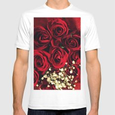 Red Roses SMALL White Mens Fitted Tee