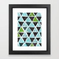 Tribal Triangles - aqua Framed Art Print