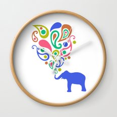 Multi-Colored Paisley Elephant Pattern Design Wall Clock