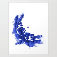 Paint 9 abstract indigo watercolor painting minimal modern canvas affordable dorm college art  Art Print