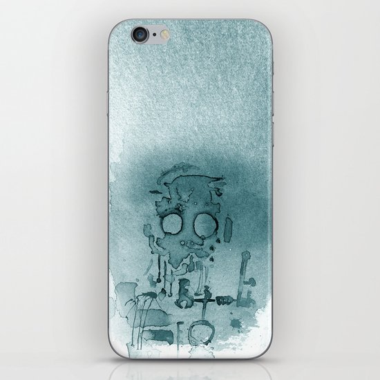 Robot in Blue iPhone & iPod Skin