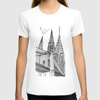 NYC Silhouettes Womens Fitted Tee White SMALL