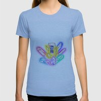 Party Crystals Womens Fitted Tee Athletic Blue SMALL