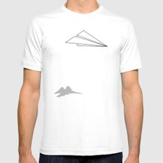 Paper Airplane Dreams SMALL Mens Fitted Tee White