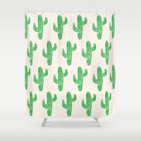 Linocut Cacti Green Shower Curtain