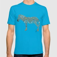 Chevron Zebra Mens Fitted Tee Teal SMALL
