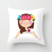 Brunette Floral Crown Girl Throw Pillow