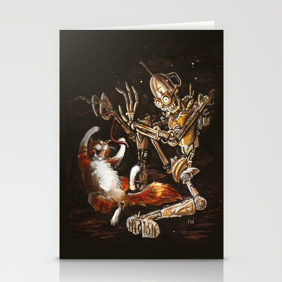 Robot and Cat in the Wild Stationery Card