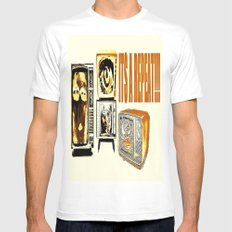 Throw away your television  White Mens Fitted Tee SMALL