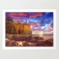 Lighthouse Landscape Art Print