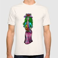 'La Catrina' (Day of The Dead) Mens Fitted Tee Natural SMALL