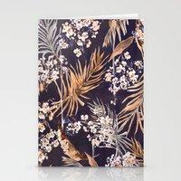 Golden oriental palms Stationery Cards