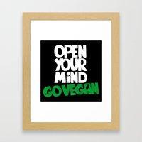 Open Your Mind Go Vegan Framed Art Print