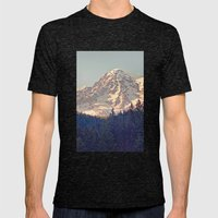 Mount Rainier Retro Mens Fitted Tee Tri-Black SMALL