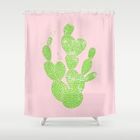 Linocut Cacti #1 Minty Pinky Shower Curtain