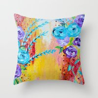 MORE IS MORE - Gorgeous Floral Abstract Acrylic Bouquet Colorful Ikat Roses Summer Flowers Painting Throw Pillow