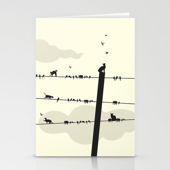 Cats and Birds Stationery Card
