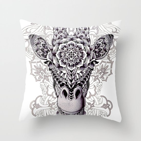 Giraffe Throw Pillow by BIOWORKZ Society6