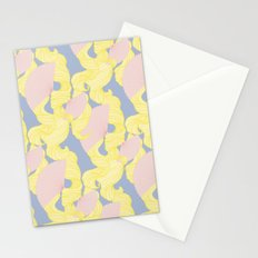 Spotted Fan & Trailing Hair // Pink & Yellow Pastels Stationery Cards