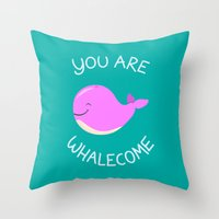 Whale, thank you! -Pink Version Throw Pillow