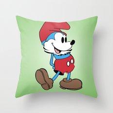 Mickey x Papa Smurf Throw Pillow