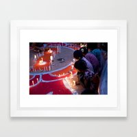Protest by candelight Framed Art Print