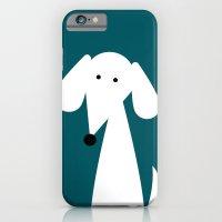 White Dachshund - Turquoise  iPhone 6 Slim Case