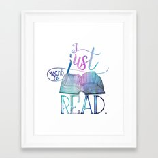 I Just Want To Read - Galaxy Framed Art Print