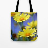 Yellow Daisies Blues Tote Bag