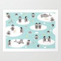 Penguins And Seals Art Print
