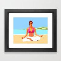 Yoga on the Beach Framed Art Print