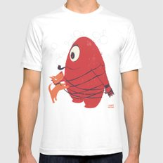 Cyclopes Monster Blob & Orange Dog Mens Fitted Tee White SMALL