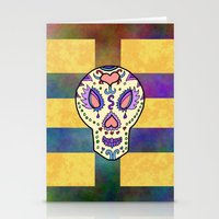 sugar skull Stationery Cards featuring Sugar Skull by Linda Tomei
