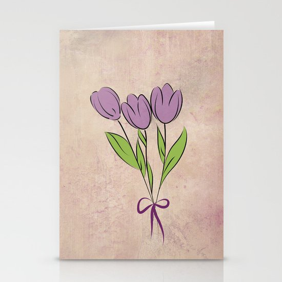 Purple Tulips Stationery Card