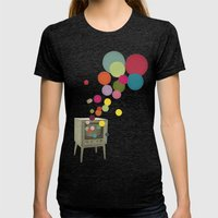 Colour Television Womens Fitted Tee Tri-Black SMALL