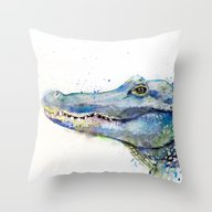 Throw Pillow featuring Alligator by Slaveika Aladjova