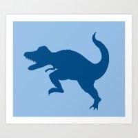 T-Rex Blue Art Print